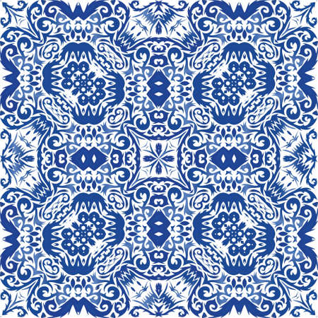 Portuguese ornamental azulejo ceramic. Graphic design. Vector seamless pattern trellis. Blue vintage backdrop for wallpaper, web background, towels, print, surface texture, pillows.