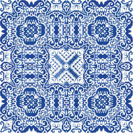 Ornamental azulejo portugal tiles decor. Vector seamless pattern texture. Hand drawn design. Blue gorgeous flower folk print for linens, smartphone cases, scrapbooking, bags or T-shirts.