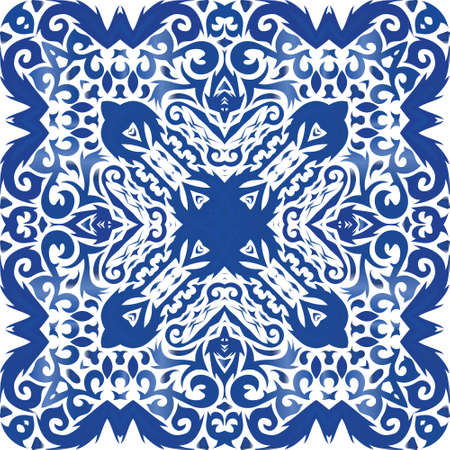 Traditional ornate portuguese azulejo. Vector seamless pattern elements. Stylish design. Blue abstract background for web backdrop, print, pillows, surface texture, wallpaper, towels.