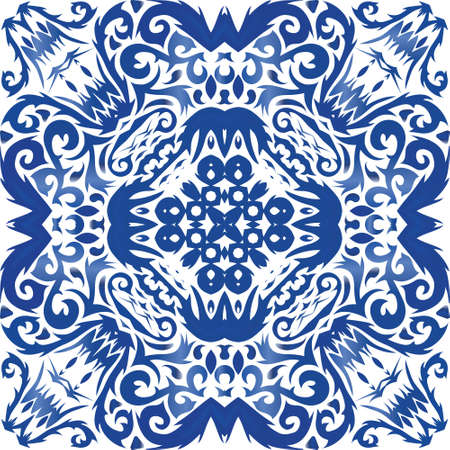 Traditional ornate portuguese azulejo. Vector seamless pattern theme. Fashionable design. Blue abstract background for web backdrop, print, pillows, surface texture, wallpaper, towels. Illusztráció