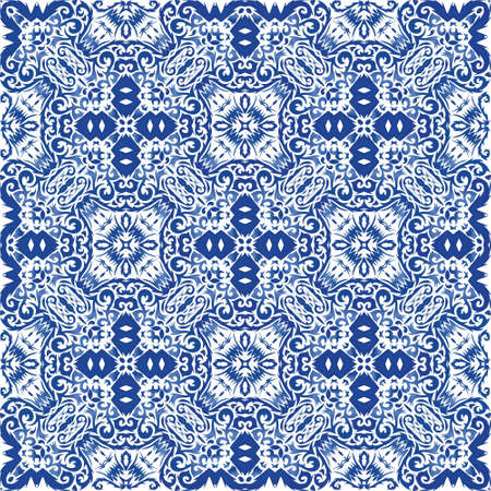 Antique portuguese azulejo ceramic. Colored design. Vector seamless pattern flyer. Blue floral and abstract decor for scrapbooking, smartphone cases, T-shirts, bags or linens.