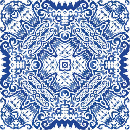 Ornamental azulejo portugal tiles decor. Kitchen design. Vector seamless pattern texture. Blue gorgeous flower folk print for linens, smartphone cases, scrapbooking, bags or T-shirts.