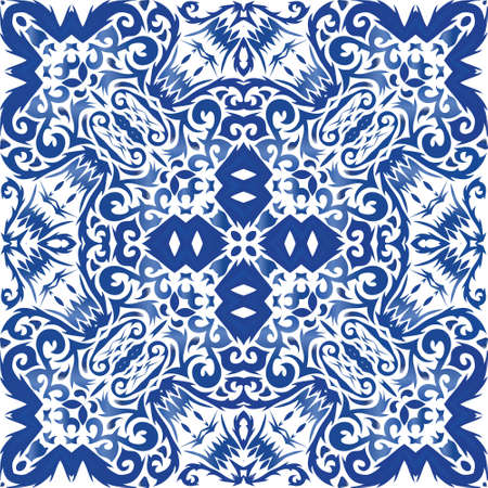Portuguese vintage azulejo tiles. Vector seamless pattern template. Modern design. Blue antique background for pillows, print, wallpaper, web backdrop, towels, surface texture.