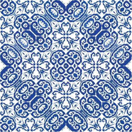 Decorative color ceramic azulejo tiles. Vector seamless pattern flyer. Graphic design. Blue folk ethnic ornament for print, web background, surface texture, towels, pillows, wallpaper.