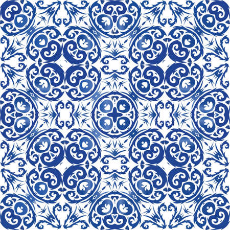 Traditional ornate portuguese azulejo. Graphic design. Vector seamless pattern trellis. Blue abstract background for web backdrop, print, pillows, surface texture, wallpaper, towels. Illusztráció