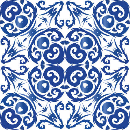 Portuguese ornamental azulejo ceramic. Fashionable design. Vector seamless pattern frame. Blue vintage backdrop for wallpaper, web background, towels, print, surface texture, pillows.