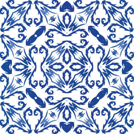 Ornamental azulejo portugal tiles decor. Vector seamless pattern flyer. Graphic design. Blue gorgeous flower folk print for linens, smartphone cases, scrapbooking, bags or T-shirts.