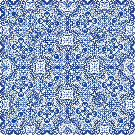 Portuguese ornamental azulejo ceramic. Colored design. Vector seamless pattern trellis. Blue vintage backdrop for wallpaper, web background, towels, print, surface texture, pillows.