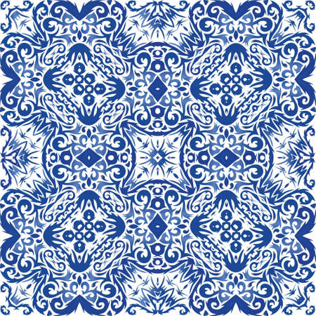 Decorative color ceramic azulejo tiles. Creative design. Vector seamless pattern watercolor. Blue folk ethnic ornament for print, web background, surface texture, towels, pillows, wallpaper.