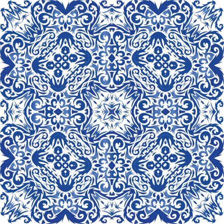 Portuguese ornamental azulejo ceramic. Universal design. Vector seamless pattern poster. Blue vintage backdrop for wallpaper, web background, towels, print, surface texture, pillows. Illusztráció