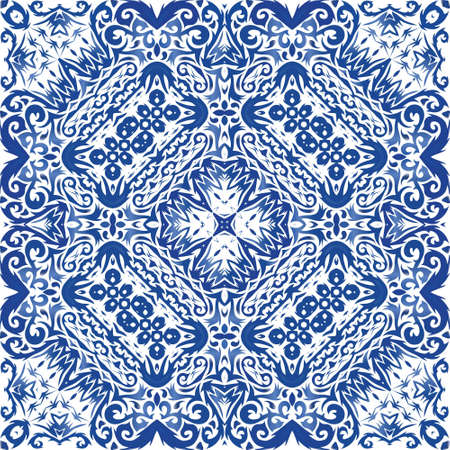 Decorative color ceramic azulejo tiles. Vector seamless pattern frame. Colored design. Blue folk ethnic ornament for print, web background, surface texture, towels, pillows, wallpaper. Illusztráció