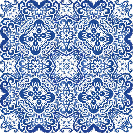 Portuguese vintage azulejo tiles. Original design. Vector seamless pattern elements. Blue antique background for pillows, print, wallpaper, web backdrop, towels, surface texture.