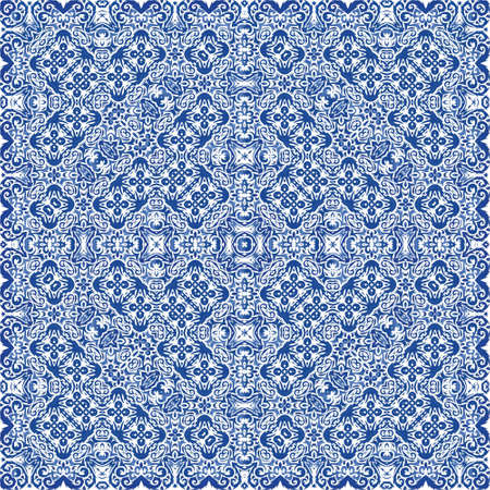 Antique azulejo tiles patchwork. Original design. Vector seamless pattern trellis. Blue spain and portuguese decor for bags, smartphone cases, T-shirts, linens or scrapbooking.