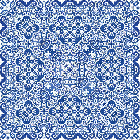 Antique azulejo tiles patchwork. Vector seamless pattern template. Stylish design. Blue spain and portuguese decor for bags, smartphone cases, T-shirts, linens or scrapbooking. Illusztráció