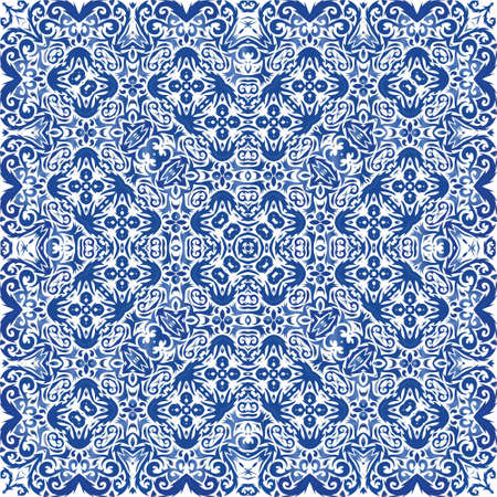 Antique portuguese azulejo ceramic. Fashionable design. Vector seamless pattern watercolor. Blue floral and abstract decor for scrapbooking, smartphone cases, T-shirts, bags or linens.