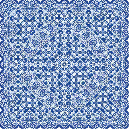 Ceramic tiles azulejo portugal. Universal design. Vector seamless pattern theme. Blue ethnic background for T-shirts, scrapbooking, linens, smartphone cases or bags.