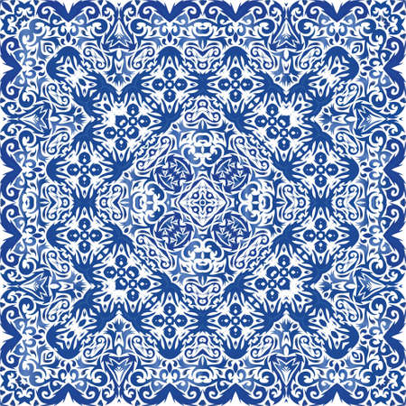Ceramic tiles azulejo portugal. Original design. Vector seamless pattern arabesque. Blue ethnic background for T-shirts, scrapbooking, linens, smartphone cases or bags.