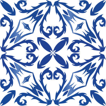Ornamental azulejo portugal tiles decor. Vector seamless pattern concept. Universal design. Blue gorgeous flower folk print for linens, smartphone cases, scrapbooking, bags or T-shirts.