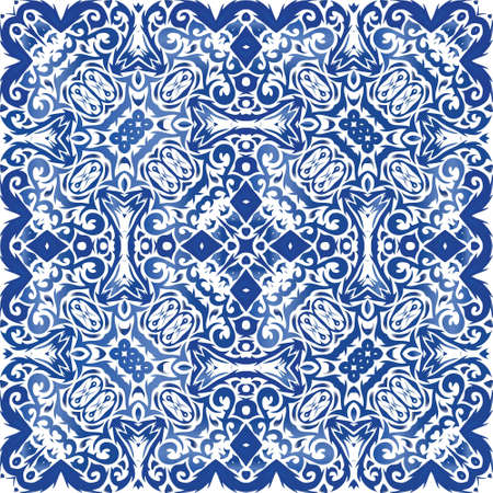 Ornamental azulejo portugal tiles decor. Vector seamless pattern trellis. Geometric design. Blue gorgeous flower folk print for linens, smartphone cases, scrapbooking, bags or T-shirts.