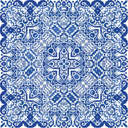 Antique portuguese azulejo ceramic. Stylish design. Vector seamless pattern collage. Blue floral and abstract decor for scrapbooking, smartphone cases, T-shirts, bags or linens. Illusztráció