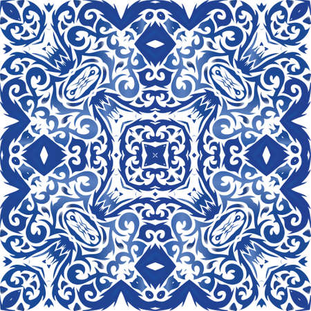 Antique portuguese azulejo ceramic. Graphic design. Vector seamless pattern trellis. Blue floral and abstract decor for scrapbooking, smartphone cases, T-shirts, bags or linens.