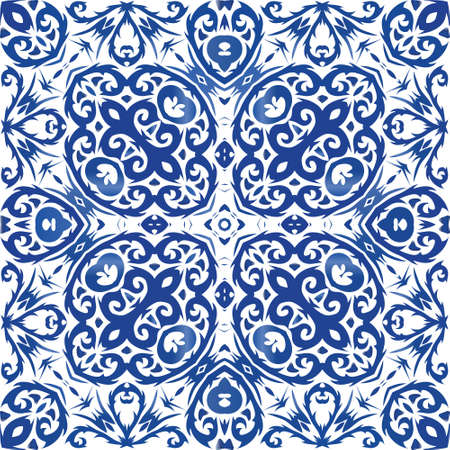 Portuguese vintage azulejo tiles. Hand drawn design. Vector seamless pattern flyer. Blue antique background for pillows, print, wallpaper, web backdrop, towels, surface texture.