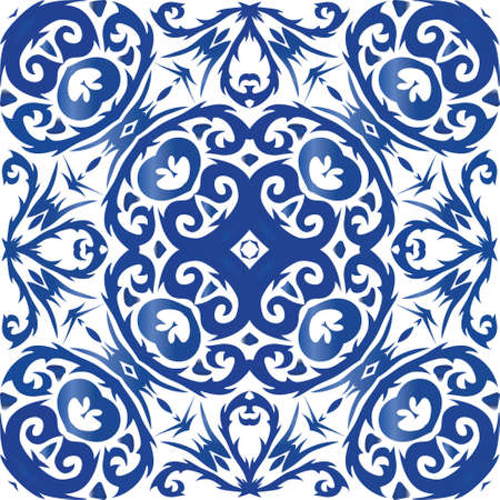 Portuguese vintage azulejo tiles. Stylish design. Vector seamless pattern illustration. Blue antique background for pillows, print, wallpaper, web backdrop, towels, surface texture.