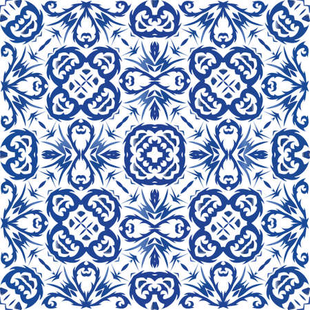 Portuguese vintage azulejo tiles. Vector seamless pattern collage. Modern design. Blue antique background for pillows, print, wallpaper, web backdrop, towels, surface texture.