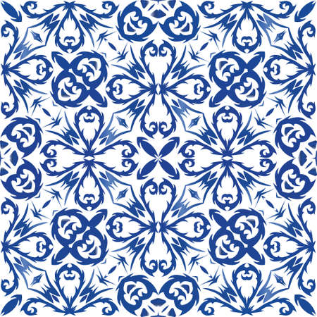 Traditional ornate portuguese azulejo. Original design. Vector seamless pattern texture. Blue abstract background for web backdrop, print, pillows, surface texture, wallpaper, towels.