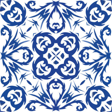 Ornamental azulejo portugal tiles decor. Vector seamless pattern texture. Fashionable design. Blue gorgeous flower folk print for linens, smartphone cases, scrapbooking, bags or T-shirts. Illusztráció
