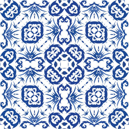 Antique portuguese azulejo ceramic. Kitchen design. Vector seamless pattern watercolor. Blue floral and abstract decor for scrapbooking, smartphone cases, T-shirts, bags or linens.