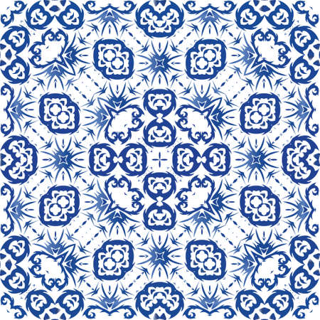 Ornamental azulejo portugal tiles decor. Fashionable design. Vector seamless pattern trellis. Blue gorgeous flower folk print for linens, smartphone cases, scrapbooking, bags or T-shirts.
