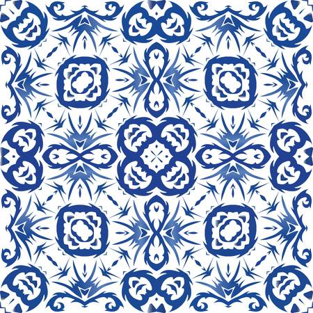Ethnic ceramic tile in portuguese azulejo. Vector seamless pattern texture. Minimal design. Blue vintage ornament for surface texture, towels, pillows, wallpaper, print, web background. Illusztráció