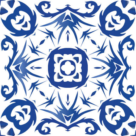 Ceramic tiles azulejo portugal. Vector seamless pattern poster. Original design. Blue ethnic background for T-shirts, scrapbooking, linens, smartphone cases or bags.
