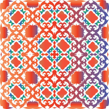 Antique mexican talavera ceramic. Geometric design. Vector seamless pattern arabesque. Red floral and abstract decor for scrapbooking, smartphone cases, T-shirts, bags or linens.
