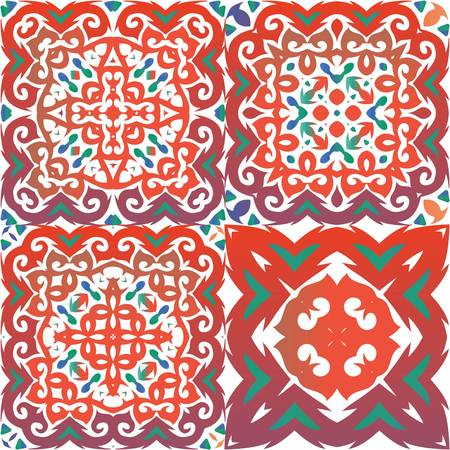 Traditional ornate mexican talavera. Kit of vector seamless patterns. Original design. Red abstract backgrounds for web backdrop, print, pillows, surface texture, wallpaper, towels.