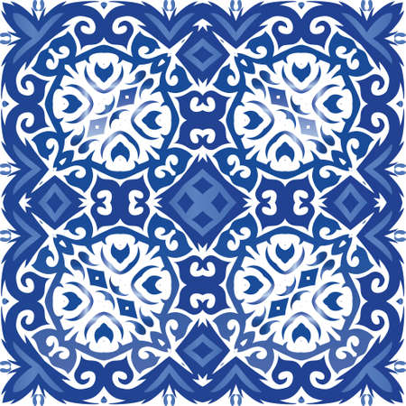 Antique azulejo tiles patchwork. Vector seamless pattern illustration. Stylish design. Blue spain and portuguese decor for bags, smartphone cases, T-shirts, linens or scrapbooking.