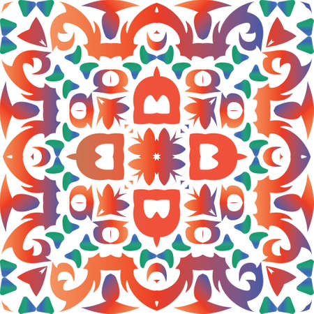 Traditional ornate mexican talavera. Modern design. Vector seamless pattern poster. Red abstract background for web backdrop, print, pillows, surface texture, wallpaper, towels.