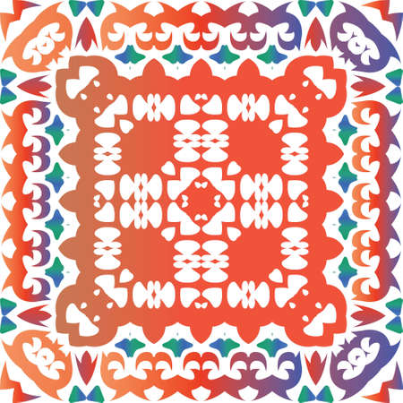 Traditional ornate mexican talavera. Colored design. Vector seamless pattern trellis. Red abstract background for web backdrop, print, pillows, surface texture, wallpaper, towels.