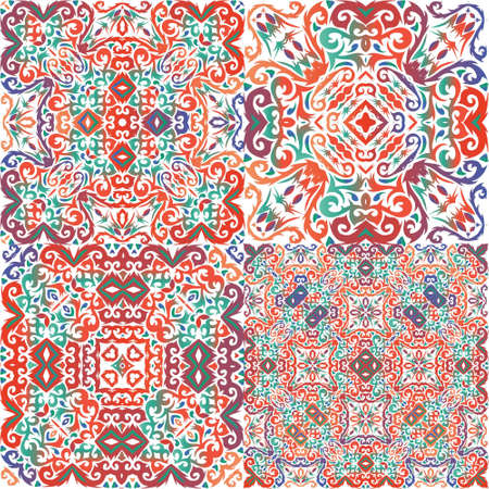 Ornamental talavera mexico tiles decor. Collection of vector seamless patterns. Kitchen design. Red gorgeous flower folk prints for linens, smartphone cases, scrapbooking, bags or T-shirts.