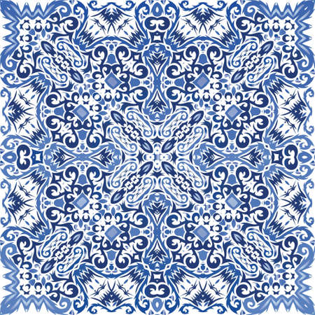 Traditional ornate portuguese azulejo. Vector seamless pattern flyer. Original design. Blue abstract background for web backdrop, print, pillows, surface texture, wallpaper, towels.