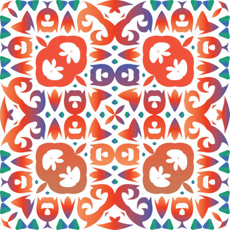 Ethnic ceramic tile in mexican talavera. Colored design. Vector seamless pattern collage. Red vintage ornament for surface texture, towels, pillows, wallpaper, print, web background.