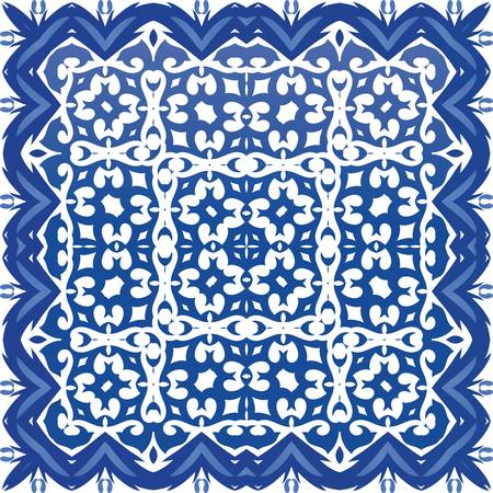 Traditional ornate portuguese azulejo. Stylish design. Vector seamless pattern texture. Blue abstract background for web backdrop, print, pillows, surface texture, wallpaper, towels.