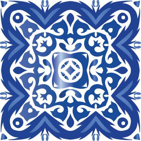 Decorative color ceramic azulejo tiles. Creative design. Vector seamless pattern frame. Blue folk ethnic ornament for print, web background, surface texture, towels, pillows, wallpaper.