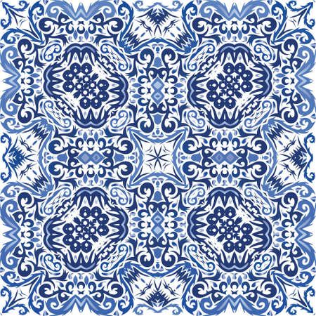 Portuguese vintage azulejo tiles. Vector seamless pattern texture. Stylish design. Blue antique background for pillows, print, wallpaper, web backdrop, towels, surface texture.