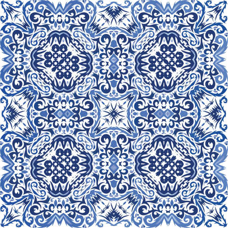 Ornamental azulejo portugal tiles decor. Geometric design. Vector seamless pattern theme. Blue gorgeous flower folk print for linens, smartphone cases, scrapbooking, bags or T-shirts.