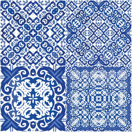 Ethnic ceramic tile in portuguese azulejo. Graphic design. Vector seamless pattern elements. vintage ornament for surface texture, towels, pillows, wallpaper, print, web background.