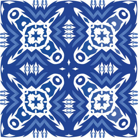 Antique portuguese azulejo ceramic. Vector seamless pattern template. Universal design. Blue floral and abstract decor for scrapbooking, smartphone cases, T-shirts, bags or linens.