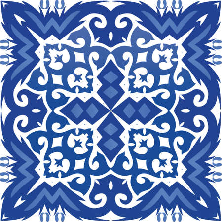 Portuguese ornamental azulejo ceramic. Geometric design. Vector seamless pattern watercolor. Blue vintage backdrop for wallpaper, web background, towels, print, surface texture, pillows.