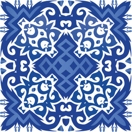 Ethnic ceramic tile in portuguese azulejo. Creative design. Vector seamless pattern flyer. Blue vintage ornament for surface texture, towels, pillows, wallpaper, print, web background.